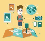 Cameraman and travel element info graphic. Royalty Free Stock Images