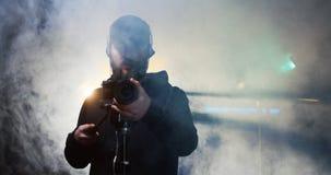 Film crew shooting take of scene in studio royalty free stock images