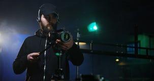 Film crew shooting take of scene in studio royalty free stock photography