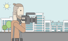 Cameraman with video camera. A caucasian hipster cameraman with video camera taking a video on a city backgroung. Vector line design illustration. Horizontal Royalty Free Stock Photography