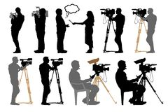 Cameraman with video camera, silhouette set. Cameraman with video camera, silhouette set royalty free illustration