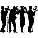 Cameraman with video camera. Silhouettes on white background. Stock Photos