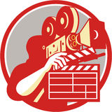 Cameraman Vintage Film Movie Camera Clapboard Retro royalty free illustration