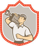 Cameraman Vintage Film Movie Camera Shield Stock Photo