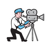 Cameraman Vintage Film Movie Camera Side Cartoon Royalty Free Stock Photos