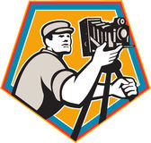 Cameraman Vintage Movie Film Camera Crest Retro Stock Photography