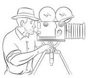 Cameraman vintage movie film camera shooting Royalty Free Stock Photography