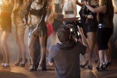 Cameraman Working On Set Fotos de archivo