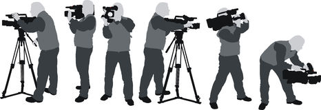 Cameramans silhouettes. The grey silhouttes of cameraman shooting with hd camcorder at different positions Stock Images