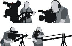 cameramanssilhouettes Arkivbild