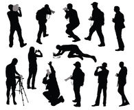 Cameramen set. Silhouettes of people taking pictures Stock Images