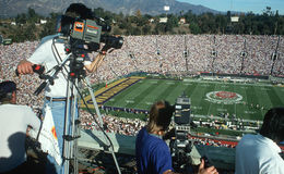 Cameramen shooting Rose Bowl Game, CA Stock Photo