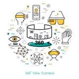 Cameramening 360 - Lijnart. Royalty-vrije Stock Foto's
