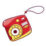Camerapictogram, multimedia en studio compact apparaat stock illustratie