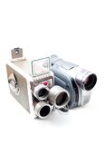 Cameras. The old film and digital camera isolated on whine royalty free stock images