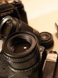 Cameras. Old reflex cameras stock photos