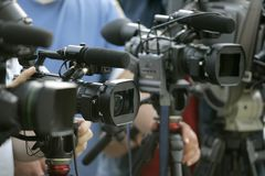 Cameras. Line of cameras arranged for an interview stock photography