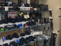 Cameras and binoculars in Florence Stock Photo