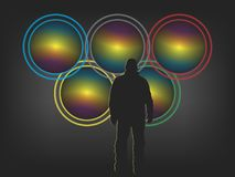 Cameras. With lenses for the stylistics of the Olympics. Vector format Royalty Free Stock Photography