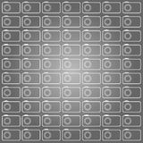 Cameras contour pattern. Cameras vector pattern drawn in the style of white contours on a gray gradient background stock illustration