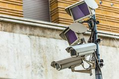 Cameras of electronic surveillance system stock photos