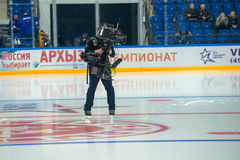 Cameras at hockey game Royalty Free Stock Photo