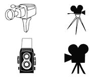 Cameras icon of retro old and modern photography photo equipment. Vector isolated silhouette of vintage lens and film camera. Or digital photograph flash on Royalty Free Stock Photo