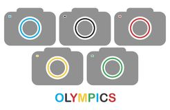 Cameras. With lenses for the stylistics of the Olympics. Vector format Stock Images