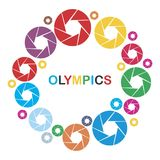 Cameras. With lenses for the stylistics of the Olympics. Vector format Stock Image