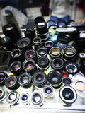 Cameras Lenses. On the table royalty free stock images