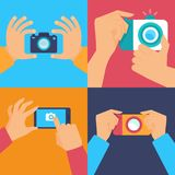 Cameras and mobile photography. Vector set of flat icons - cameras and mobile photography Stock Image