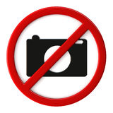 Cameras not allowed. 3d render of cameras not allowed sign Royalty Free Stock Photos