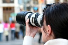 Cameras & Optics, Photographer, Single Lens Reflex Camera, Camera Lens Royalty Free Stock Image