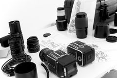 Cameras and photographic material for a shooting Royalty Free Stock Photo