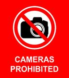 Cameras Prohibited Sign. The use of cameras equipment is prohibited vector illustration