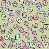Cameras on seamless background. For summer design. Summer pattern background. Vacation poster royalty free illustration