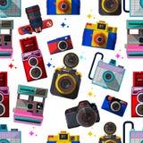 Cameras-seamless. Vector 3D Flat Retro Cameras--seamles Stock Photo