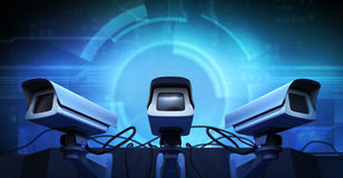 Cameras. Security Cameras, noise and electronic details Royalty Free Stock Images