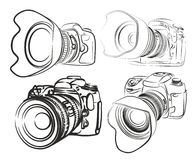 Cameras. Sketches of professional slr cameras Stock Images