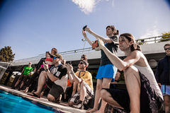 Cameras, Staff and Judges Analysing the Protocol of a freediver Royalty Free Stock Images