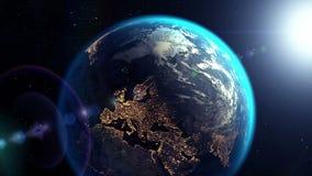 Cameravliegen uit sc.i-FI tunnel aan de Aarde, 3D animatie royalty-vrije illustratie