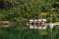 Camere al puntello del fiordo, Norvegia Fotografie Stock Libere da Diritti