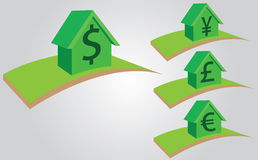 Camere con valuta da vendere, affitto o l'ipoteca Immagini Stock Libere da Diritti