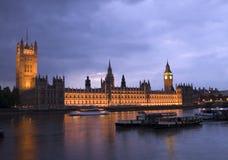 Camere del Parlamento alla notte Fotografie Stock Libere da Diritti