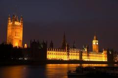 Camere del Parlamento alla notte Fotografia Stock