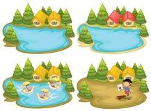 Camere e lago illustrazione vettoriale
