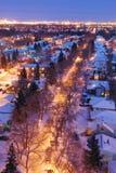 Camere e vie in una notte di inverno Fotografia Stock