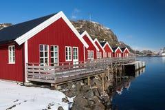 Camere in porto, Lofoten, Norvegia Fotografia Stock Libera da Diritti