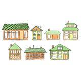 Camere su una via Illustrazione di un paesaggio della città con la casa urbana Doodle lo stile Fotografia Stock