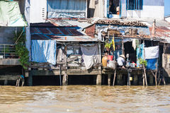 Camere sui trampoli nel delta del Mekong Fotografia Stock Libera da Diritti